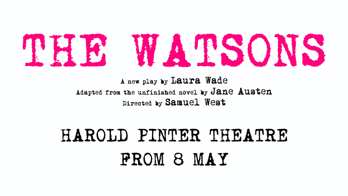 Title of the show in pink writing and theatre in black, on a white background